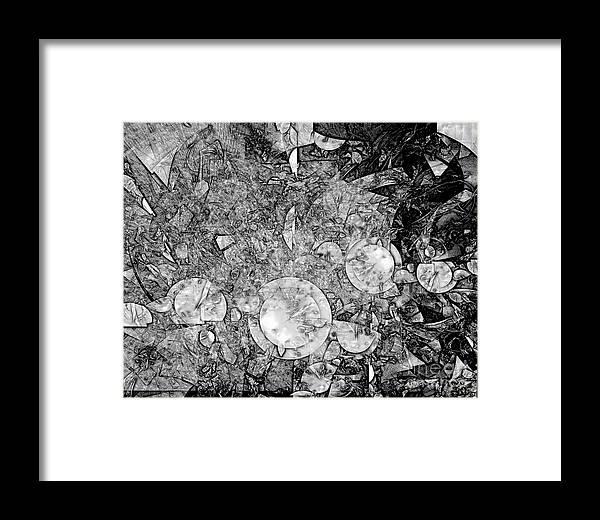 Graphics Framed Print featuring the digital art Abstraction B-w 0572 - Marucii by Marek Lutek