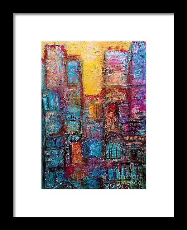 Painting Framed Print featuring the painting Abstrtact City Sunset by Ingrid Becker