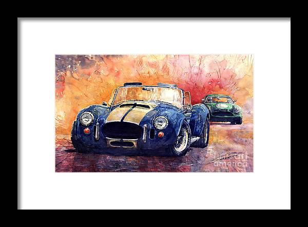 Shevchukart Framed Print featuring the painting AC Cobra Shelby 427 by Yuriy Shevchuk