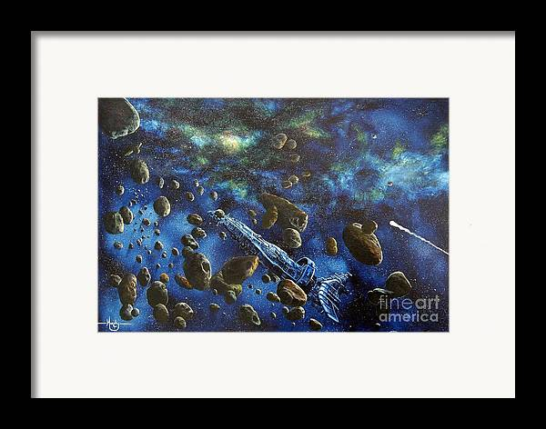 Astro Framed Print featuring the painting Accidental Asteroid by Murphy Elliott