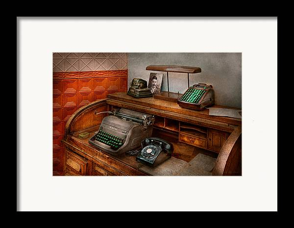 Accountant Framed Print featuring the photograph Accountant - Typewriter - The Accountants Office by Mike Savad