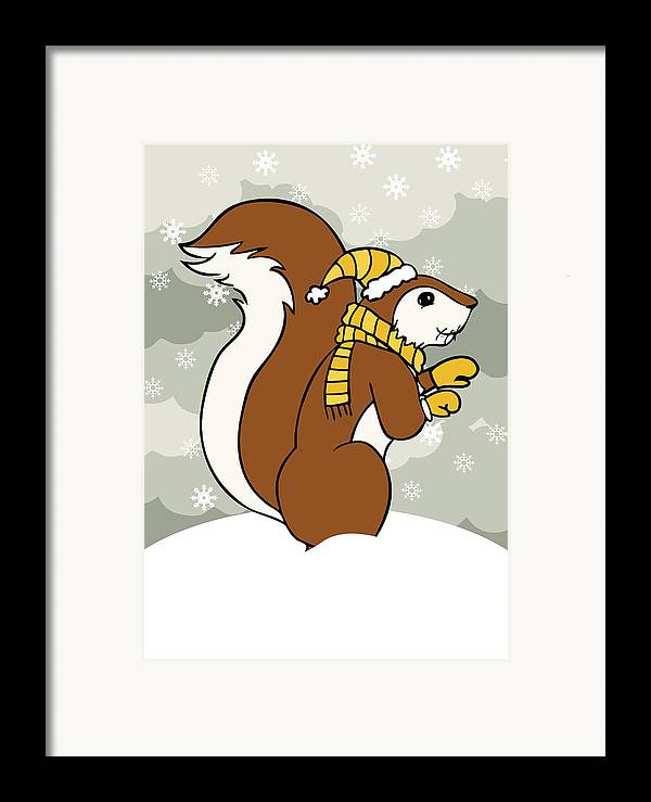 Acorn Framed Print featuring the digital art Acorn Winter by Christy Beckwith