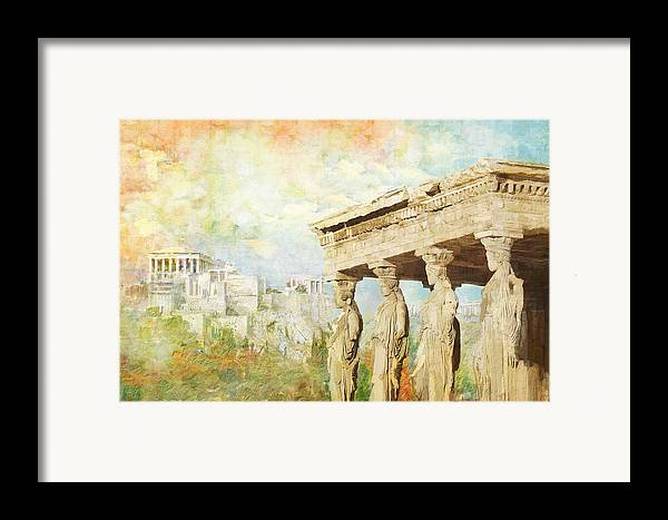 Greecetemple Of Apollo Epicurius At Bassaeacropolis Framed Print featuring the painting Acropolis Of Athens by Catf