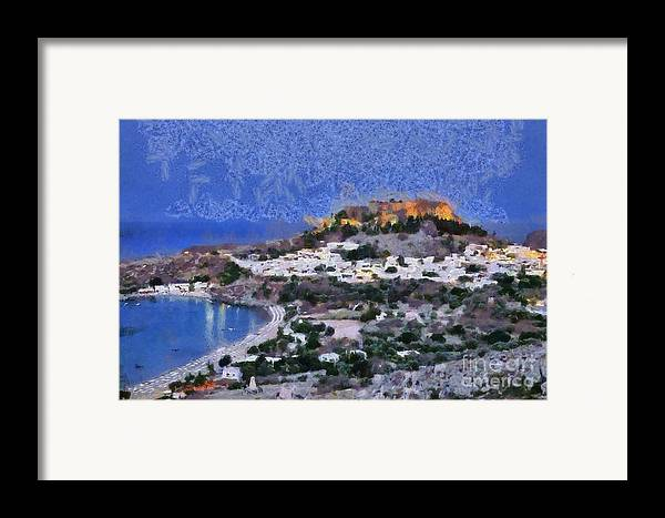 Rhodes Framed Print featuring the painting Acropolis Village And Beach Of Lindos by George Atsametakis