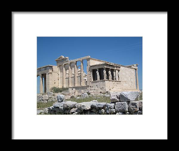Porch Of The Maidens. Framed Print featuring the photograph Acropolis by Yoli Lins