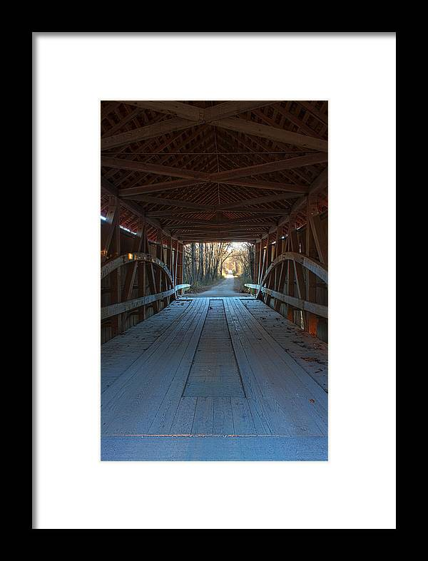 Parke County Indiana Photographs Framed Print featuring the photograph Across The Bridge And Through The Woods by Thomas Sellberg