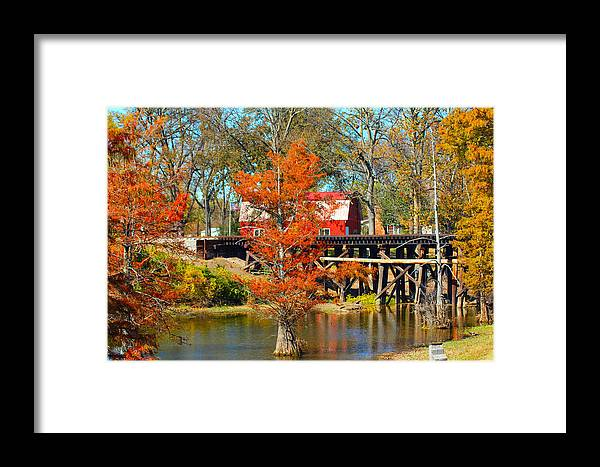 Barn Framed Print featuring the photograph Across The Bridge by Karen Wagner