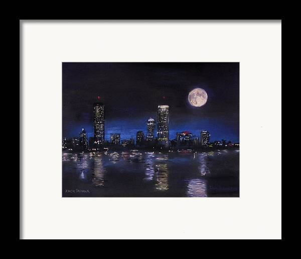 Boston Framed Print featuring the painting Across The Charles At Night by Jack Skinner