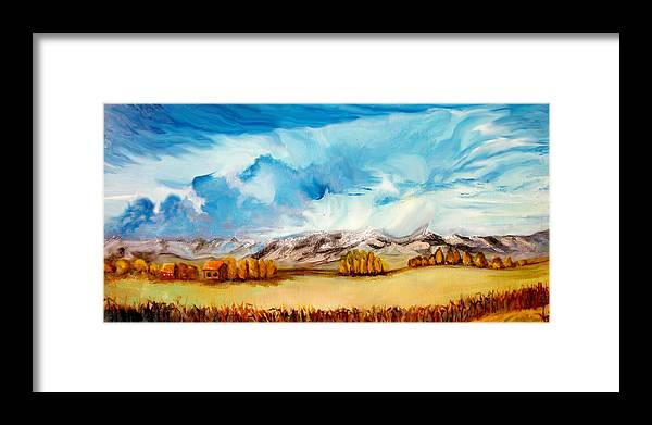 Landscape Framed Print featuring the painting across the Miles by Agie Kaminski