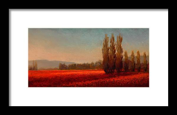 Skagit Framed Print featuring the painting Across The Tulip Field - Horizontal Landscape by Karen Whitworth