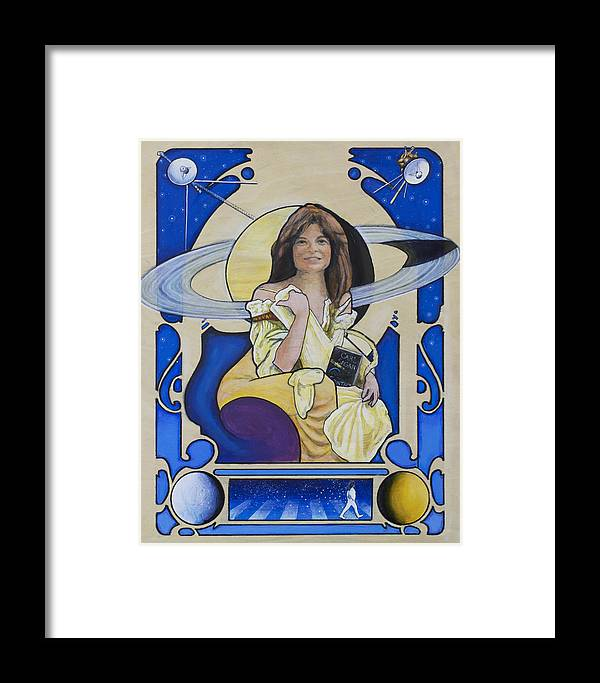 Carolyn Porco Framed Print featuring the painting Across The Universe - Carolyn Porco by Simon Kregar