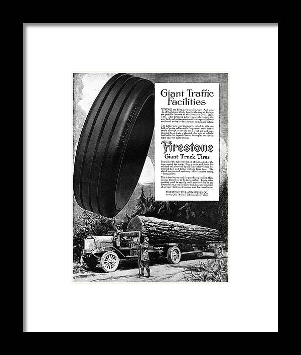 1918 Framed Print featuring the painting Ad Firestone, 1918 by Granger