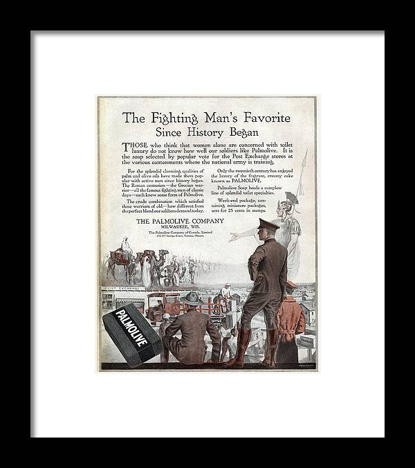 1918 Framed Print featuring the painting Ad Palmolive, 1918 by Granger