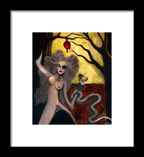 Adam Framed Print featuring the painting Adam And Eve by Ayka Yasis