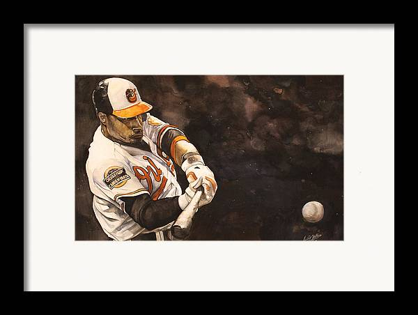 Adam Jones Framed Print featuring the painting Adam Jones by Michael Pattison
