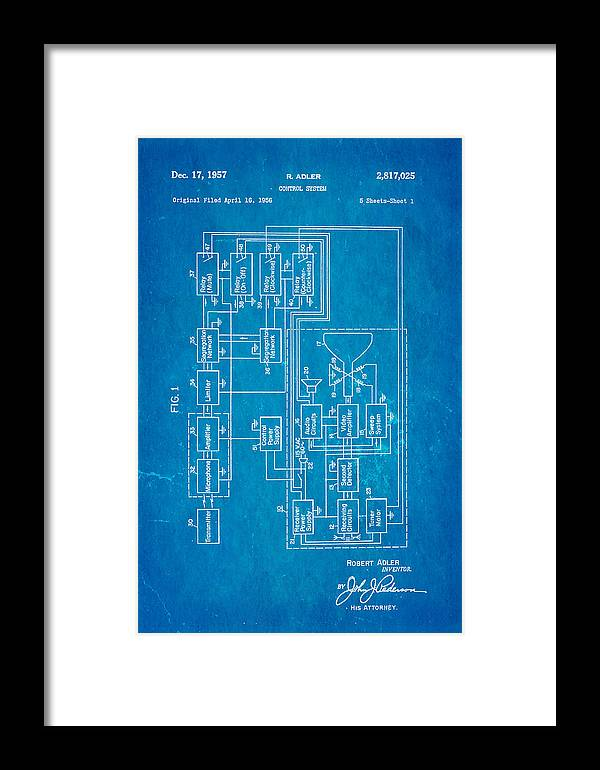 Adler tv remote control patent art 1957 blueprint framed print by electricity framed print featuring the photograph adler tv remote control patent art 1957 blueprint by ian malvernweather Images