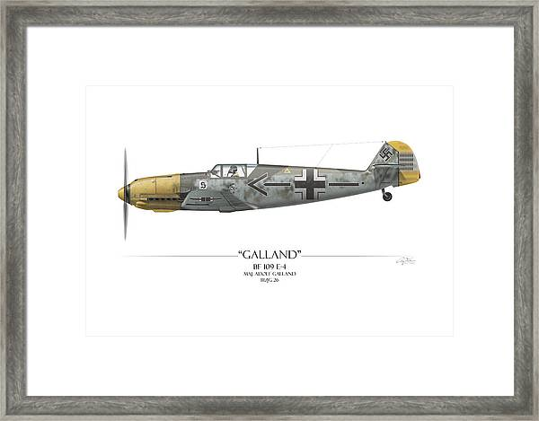 Adolf Galland Messerschmitt Bf 109 White Background Framed Print