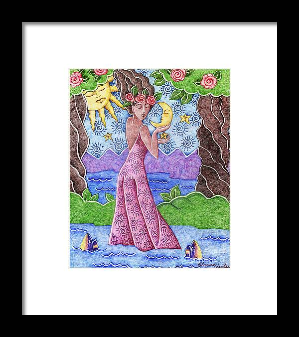 Figurative Framed Print featuring the drawing Adorable Moon by Elaine Jackson