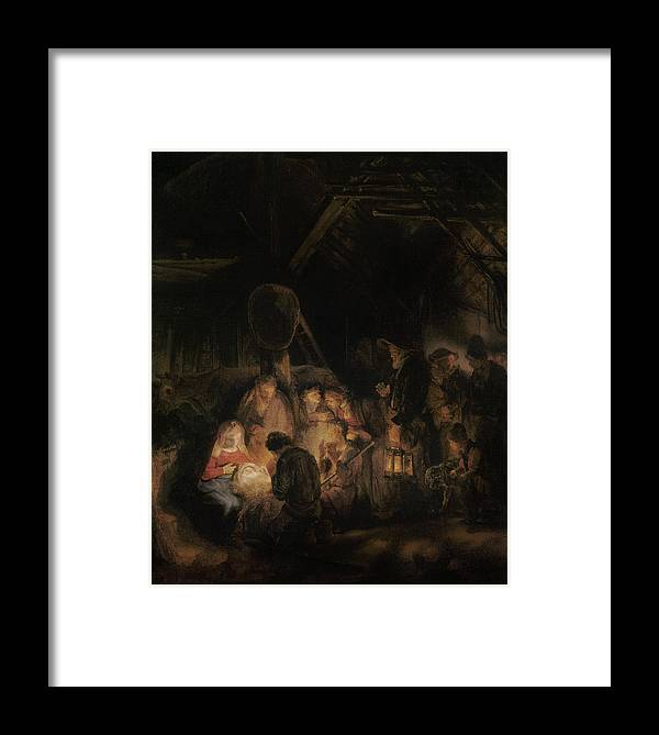 Nativity Framed Print featuring the photograph Adoration Of The Shepherds, 1646 Oil On Canvas by Rembrandt Harmensz. van Rijn