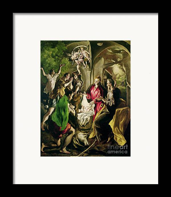 Adoration Des Bergers; Nativity; Birth; Infant Christ; Jesus; Madonna; Virgin Mary; Joseph; Changing; Angels; Stable; Manger Framed Print featuring the painting Adoration Of The Shepherds by El Greco Domenico Theotocopuli