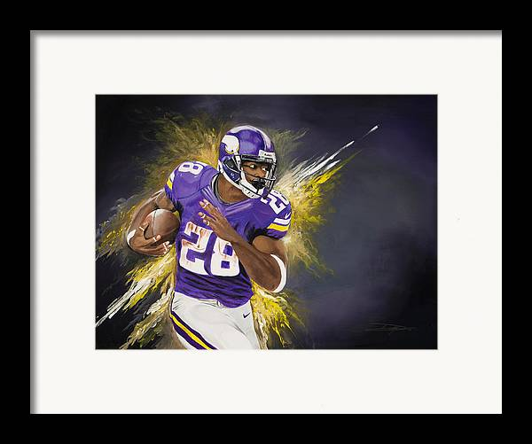 Ap Framed Print featuring the painting Adrian Peterson by Don Medina