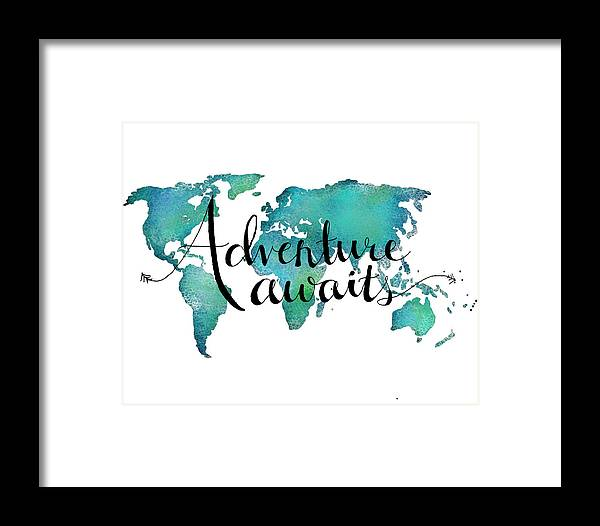 Adventure awaits travel quote on world map framed print by adventure awaits framed print featuring the digital art adventure awaits travel quote on world map gumiabroncs Image collections