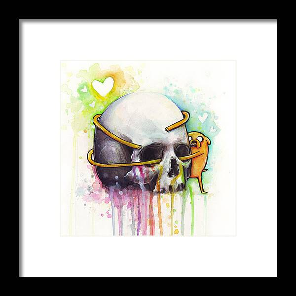 Adventure Time Framed Print featuring the painting Adventure Time Jake Hugging Skull Watercolor Art by Olga Shvartsur