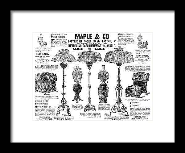 1890 Framed Print featuring the painting Advertisement Lamps, 1890 by Granger