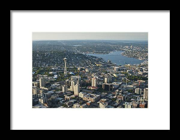 Bell Town Framed Print featuring the photograph Aerial Image Of The Seattle Skyline by Jim Corwin