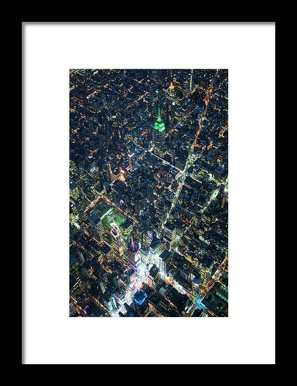Outdoors Framed Print featuring the photograph Aerial Photography Of Bloadway In Dusk by Michael H