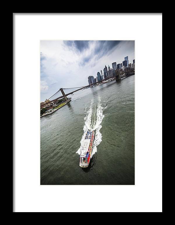 Manhattan Framed Print featuring the photograph Aerial View - Red Tourist's Boat At East River by Alex Potemkin