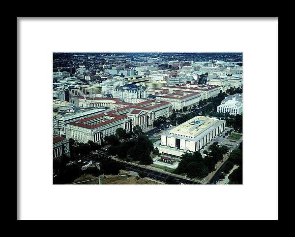 Downtown District Framed Print featuring the photograph Aerial View Of Constitution Avenue by Hisham Ibrahim