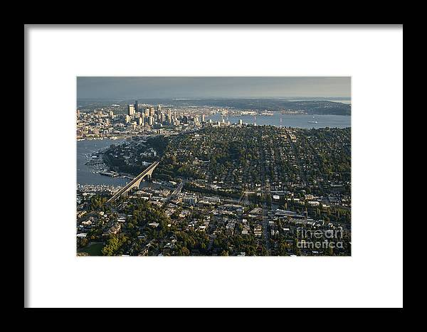 Elliott Bay Framed Print featuring the photograph Aerial View Of Seattle by Jim Corwin