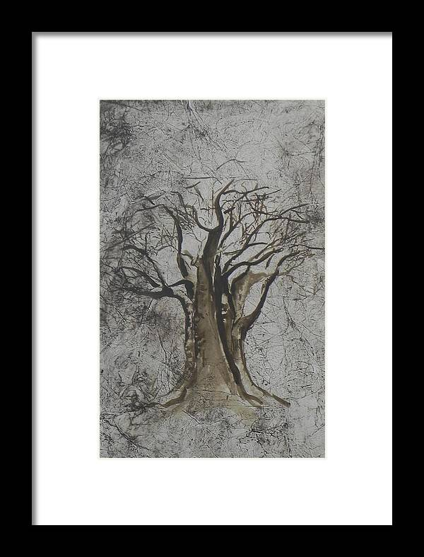 African Tree Framed Print featuring the painting Africa Presence by Ilona Petzer