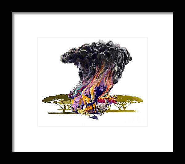 Africa Framed Print featuring the digital art Africa Up In Smoke by Sassan Filsoof