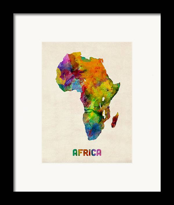 Map Art Framed Print featuring the digital art Africa Watercolor Map by Michael Tompsett
