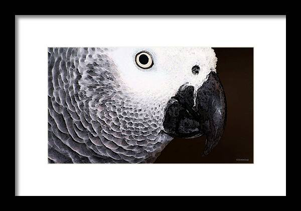 African Grey Framed Print featuring the painting African Gray Parrot Art - Seeing Is Believing by Sharon Cummings