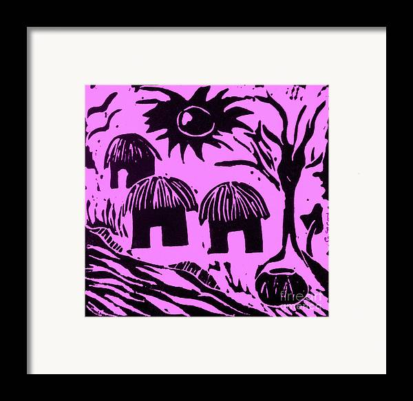 Lino Framed Print featuring the relief African Huts Pink by Caroline Street