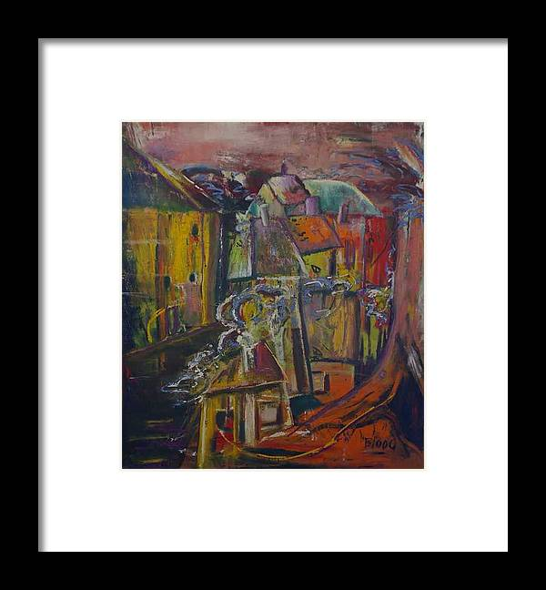 Landscape Framed Print featuring the painting African Land by Peggy Blood