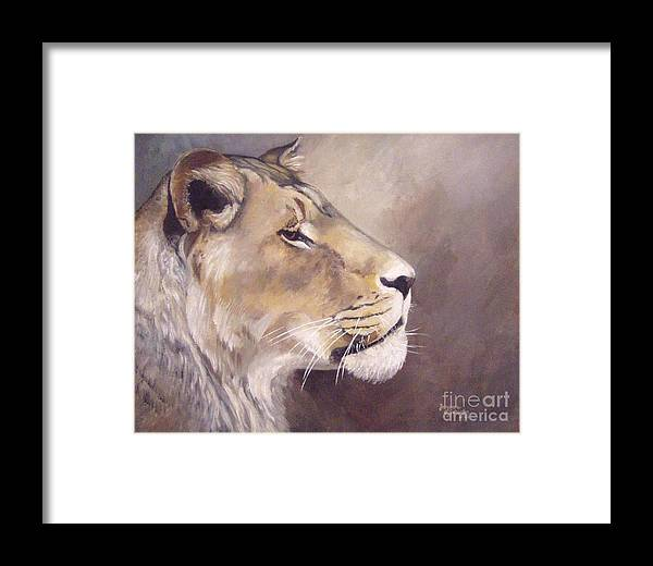 African Lioness Framed Print featuring the painting African Lioness On Alert by Suzanne Schaefer