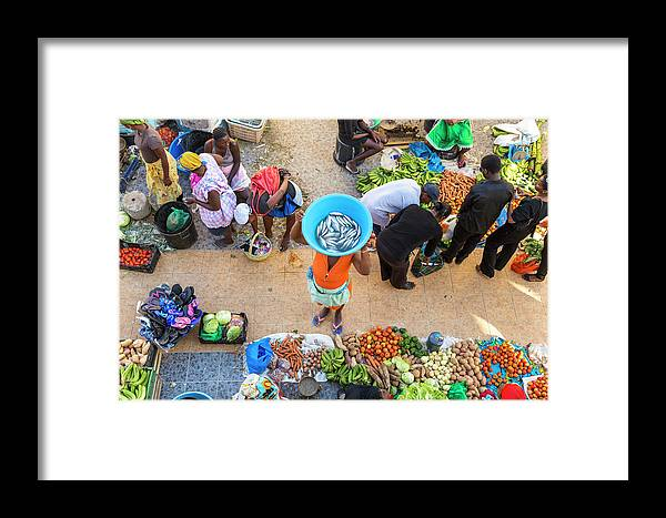 People Framed Print featuring the photograph African Market, Assomada, Santiago by Peter Adams