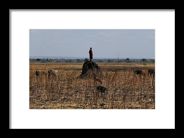 Masai Framed Print featuring the photograph African Series Masai Boy by Katherine Green