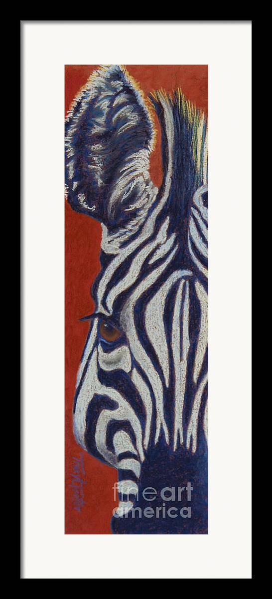 Zebra Framed Print featuring the pastel African Stripes by Tracy L Teeter