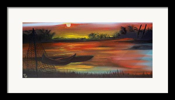 Sunset Framed Print featuring the painting African Sunset by Martha Mullins