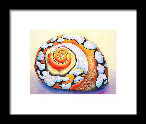 Shell Framed Print featuring the painting African Turbo Shell by Carlin Blahnik CarlinArtWatercolor
