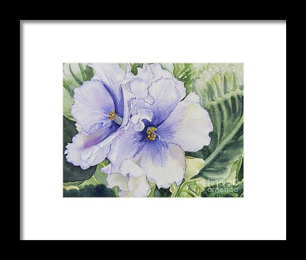 Watercolor Framed Print featuring the painting African Violet by Carol Flagg