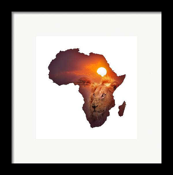 Africa Framed Print featuring the photograph African Wildlife Map by Johan Swanepoel