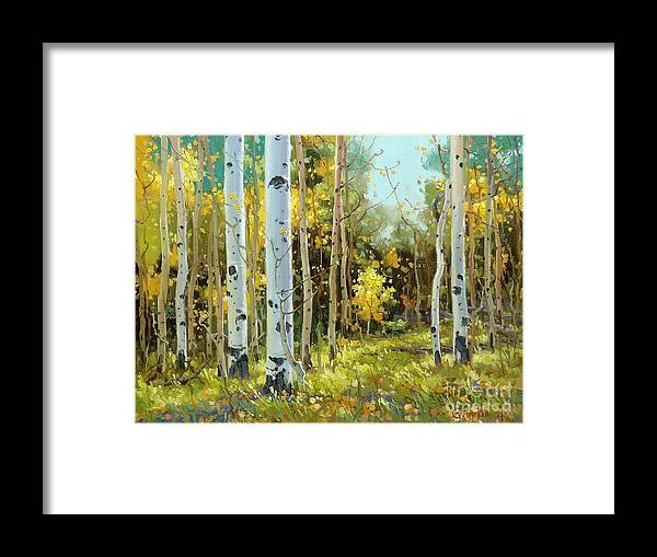 Aspen Art Framed Print featuring the painting After a rain shower by Gary Kim