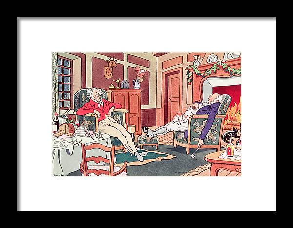 Asleep Framed Print featuring the painting After Christmas Lunch by Anonymous