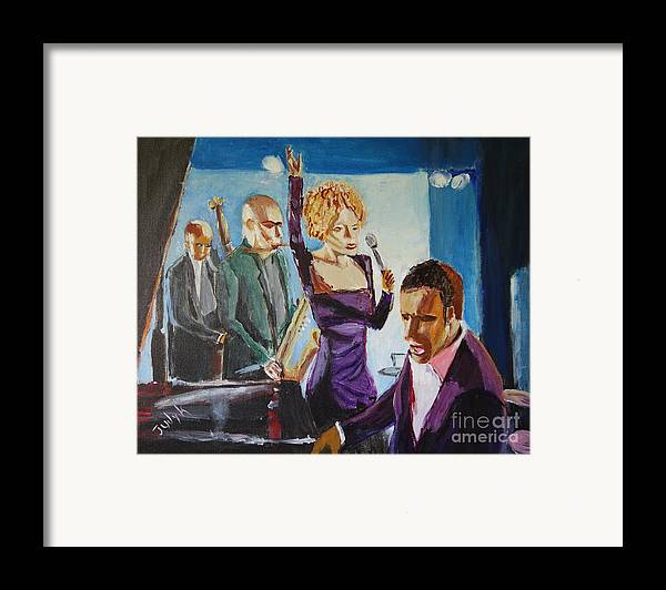 Music Framed Print featuring the painting After Hours by Judy Kay